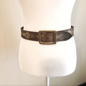 Leather Belt with Gold Designs